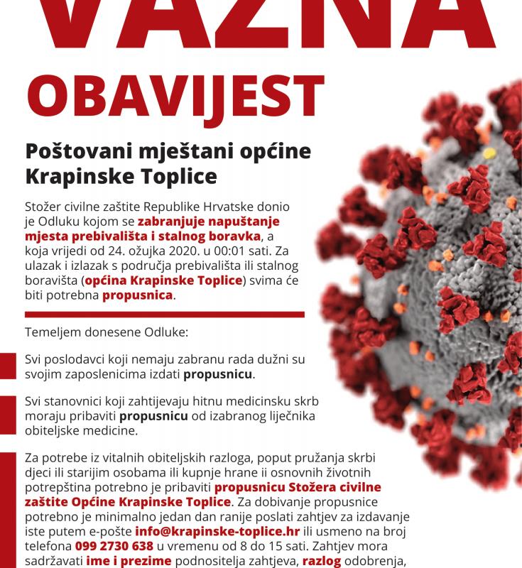 PROPUSNICA – Odluka o zabrani napuštanja mjesta prebivališta i stalnog boravka u Republici Hrvatskoj